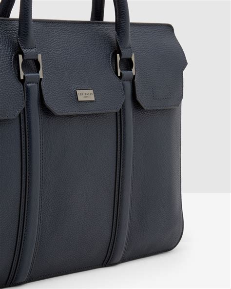 ted baker luxury leather document bag  navy blue