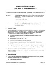 preliminary sale agreement template agreement of purchase and sale of business assets short