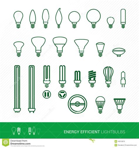 bulbs shapes and applications stock vector image 43212870
