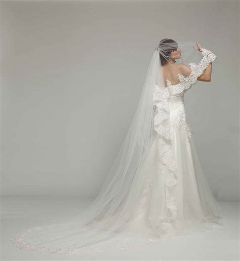 French Lace Cathedral Length Bridal Veil By Melanie Potro