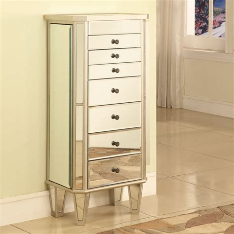 Mirrored Jewelry Armoire With Silver Wood Finish Jewelry