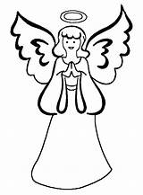 Angel Coloring Printable Pages Angels Simple Christmas Tree sketch template