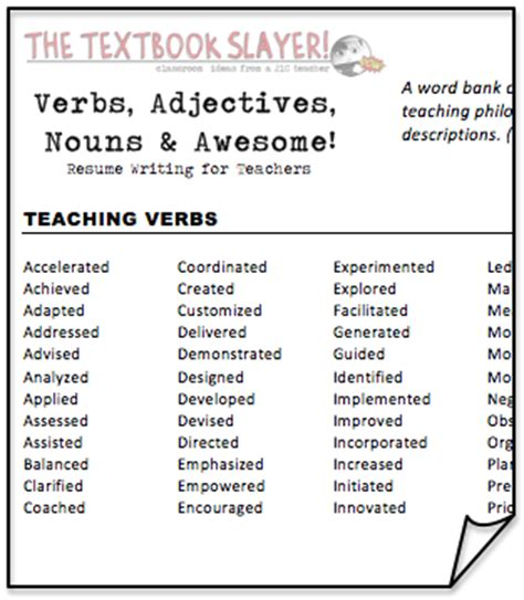 Adjectives For Resumes by The Textbook Slayer Verbs Adjectives Nouns Awesome