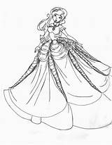 Coloring Gown Pages Princess Printable Fancy Dresses Ball Gowns Barbie Outline Adults Adult 535c Colouring Drawing Night Prom Realistic Boy sketch template