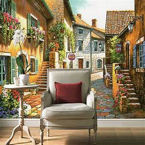 3D Custom Photo Mural Wallpaper Pastoral Town Vintage ...