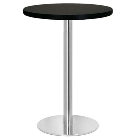 table haute mange debout base ronde en inox bross 233 avec plateau rond t218r one mobilier