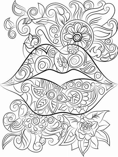 Coloring Pages Adult Adults Lips Flowers Colouring