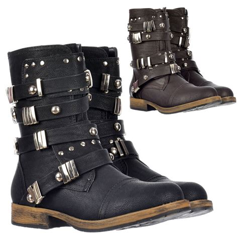 biker boot style dolcis biker style military ankle boot metal studded