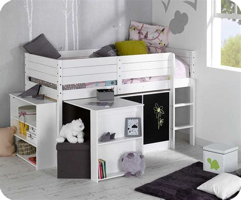 lit mi hauteur avec bureau set lit enfant mi hauteur tamis blanc