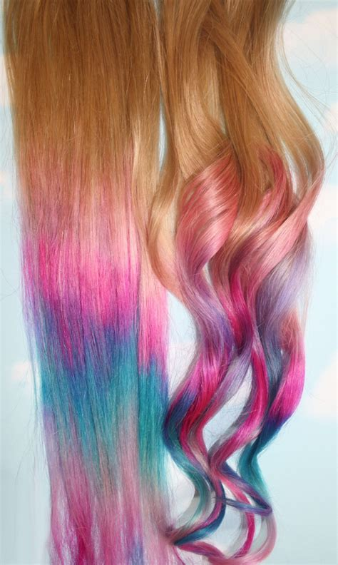 colored tips ombre tie dye hair tips set of 2 human hair