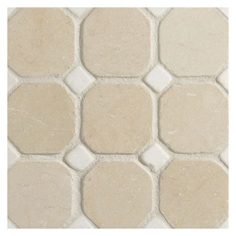octagon with dot mosaic tile tumbled crema marfil marble with thassos dot