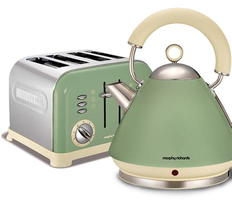 green kitchen accessories uk morphy richards accents kettle and toaster set 3995