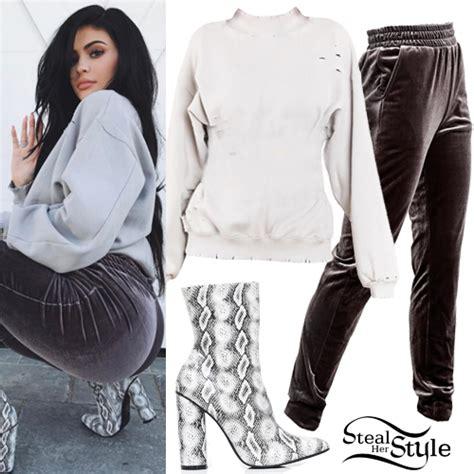Kylie Jenner Distressed Sweatshirt Velvet Joggers | Steal Her Style