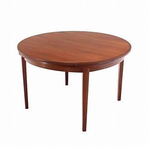 rare danish modern teak round expandable top dining table With round expandable dining room table