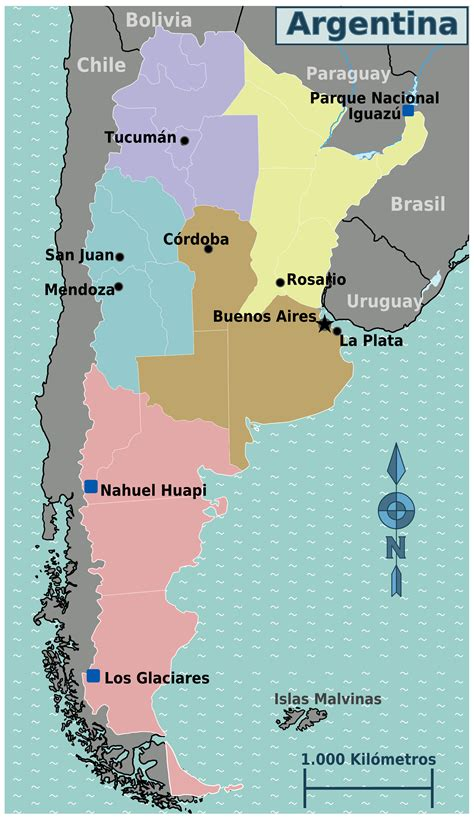 large regions map  argentina argentina south america