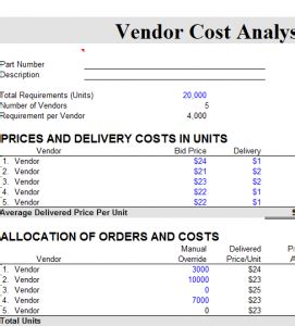 vendor cost analysis chart  excel templates