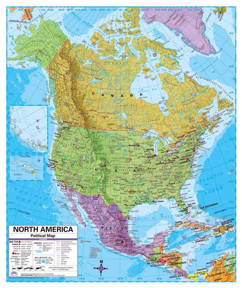 political map  north america  relief roads