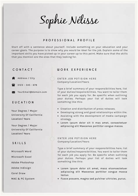 Exles Of Professional Resumes by 17 B 228 Sta Id 233 Er Om Mall Professionellt Cv P 229 Cv