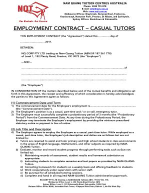 Editable casual employment contract - Fill, Print & Download Forms in Word & PDF | sample