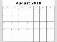 August 2018 Print A Calendar