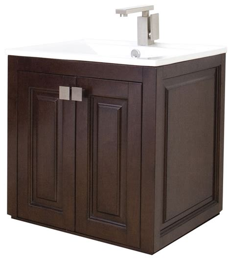 Transitional Wall Mount Birch Vanity Base Only, Tobacco