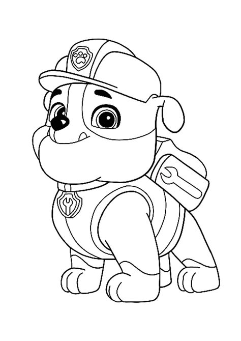 Paw Patrol Rubble coloring page in 2020 Paw patrol