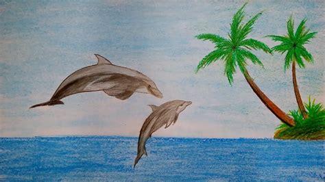 draw scenery  dolphin step  step  oil