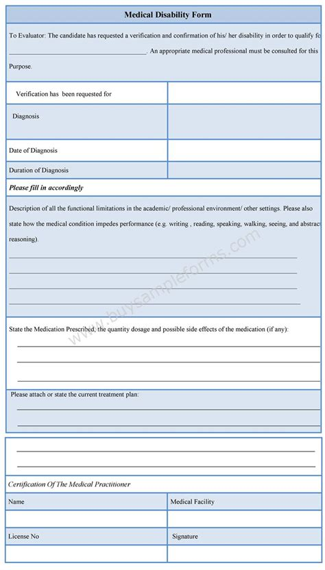 forms of disability medical disability form