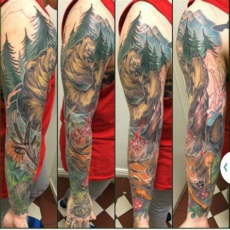 hunting bear  deer tattoo sleve tattoo pinterest