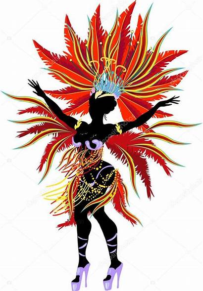 Samba Silhouette Dancer Carnival Costume Vector Illustration