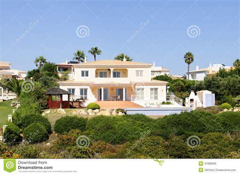 beautiful terraced house plans luxurious backyard summer mansion blue sky stock photo