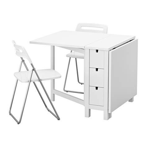norden nisse table and 2 folding chairs white 89 cm ikea