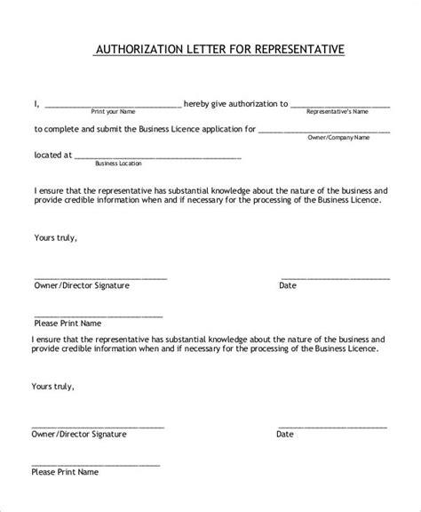 authorization letter  representative declaration