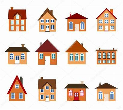 Cartoon Homes Icon Illustration Residential Houses Clipart