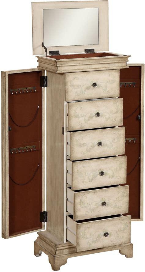 Gilston Distressed Ivory Jewelry Armoire, 91793, Coast To