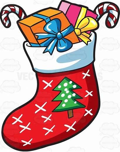Christmas Sock Presents Clipart Cartoon Socks Drawing