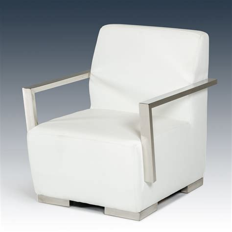 divani casa calico modern white leatherette accent chair