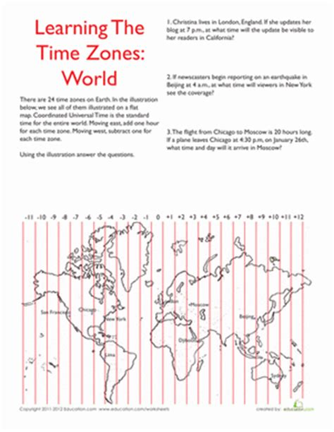 world time zones worksheet education