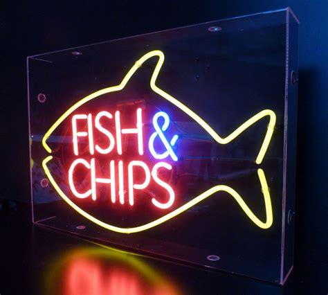 fish  chips neon sign
