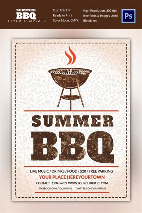 bbq flyer template  word  psd eps