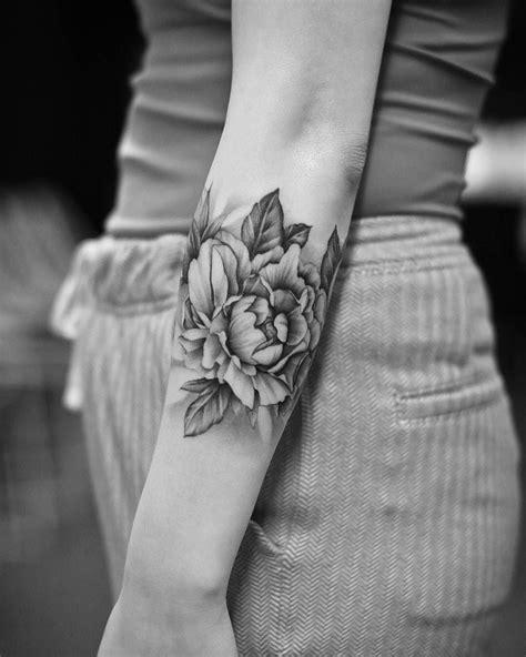 Very nice black and grey Peony flowers tattoo by Dragon Art from Bang Bang Tattoo NY | Tattoos