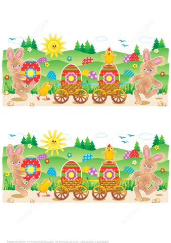 find  differences easter bunnies chicks painted eggs  printable puzzle games