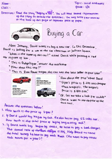 use english in teaching written language buying a car