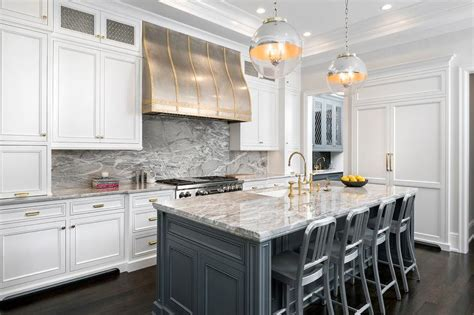 white kitchen gray island gray kitchen cabinets with brass pulls transitional 1380