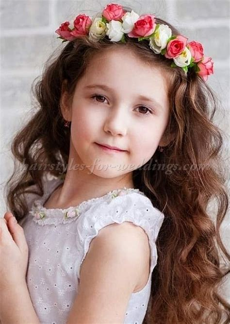 flowergirl hairstyle with floral halo flower girl