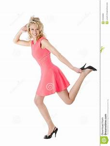 Happy Woman Running In High Heel Shoes Stock Photos ...