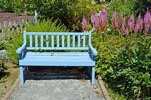blue garden bench stock photo image of park spring With katzennetz balkon mit garden bench