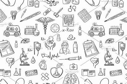 Medicine Pattern Draw Hand Medical Doctor Science