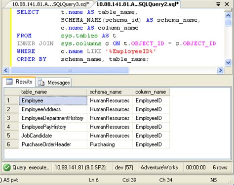 sql server show tables sql server query to find column from all tables of
