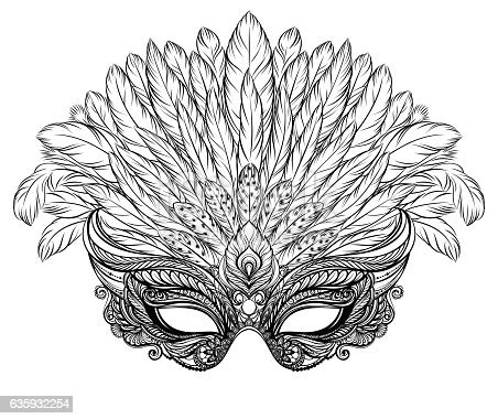 venetian carnival mask  feathers stock vector art